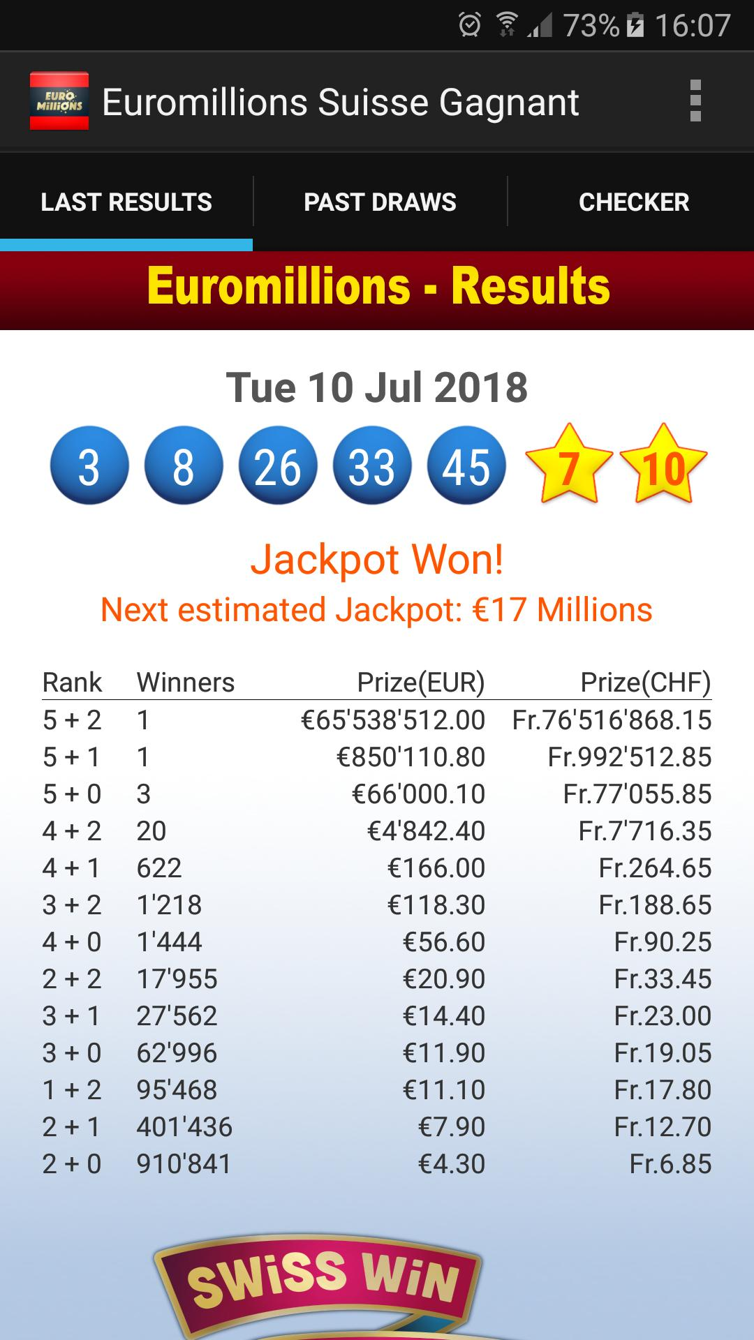 Euromillions results - euromillions numbers - results checker